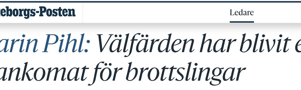 I praktiken: I Sverige tvingas landets egen befolkning att bekosta bedrägerier och våldsbrott som begås mot dem och deras barn.