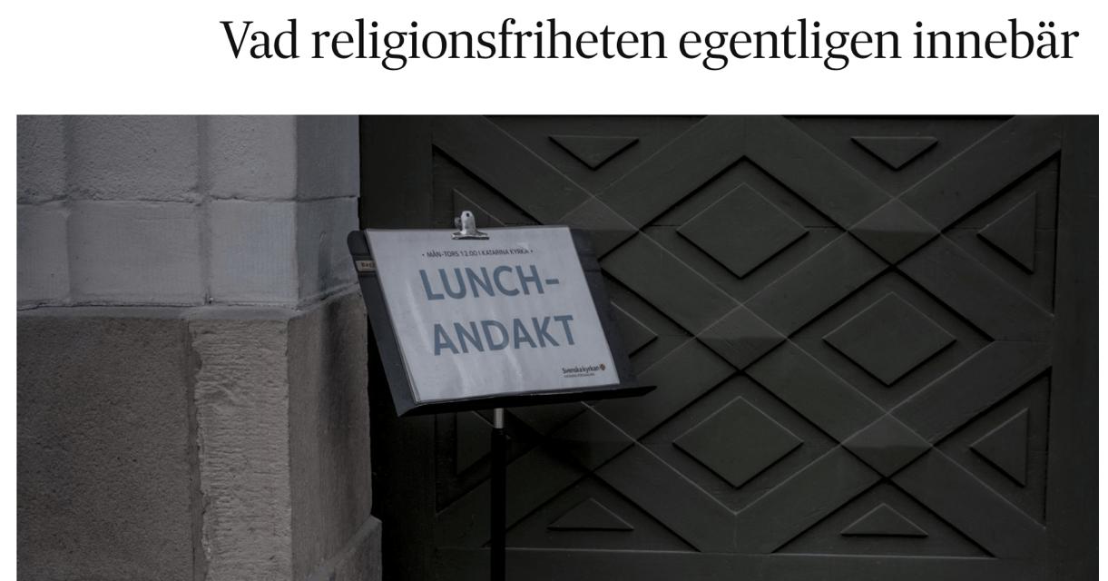 Om religionsfrihet. Om religionen som en privat och frivillig angelägenhet. Om religionsfrihetslagen.